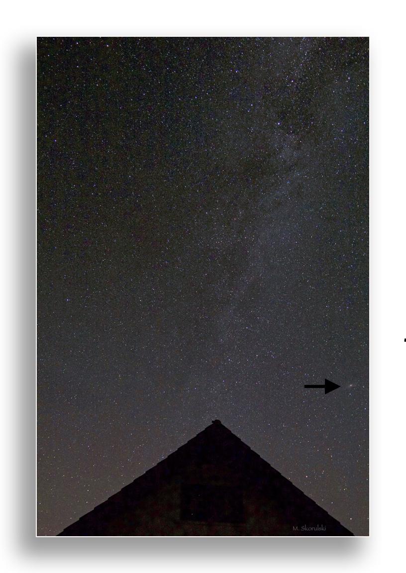 Milky Way with Andromeda Galaxy (see arrow)