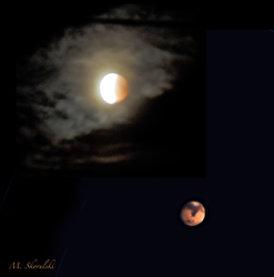 Eclipsed Moon and Mars
