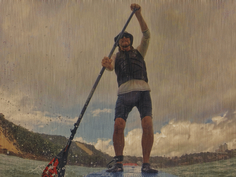 Paddling in a downpour