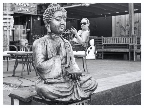 Buddha and lady