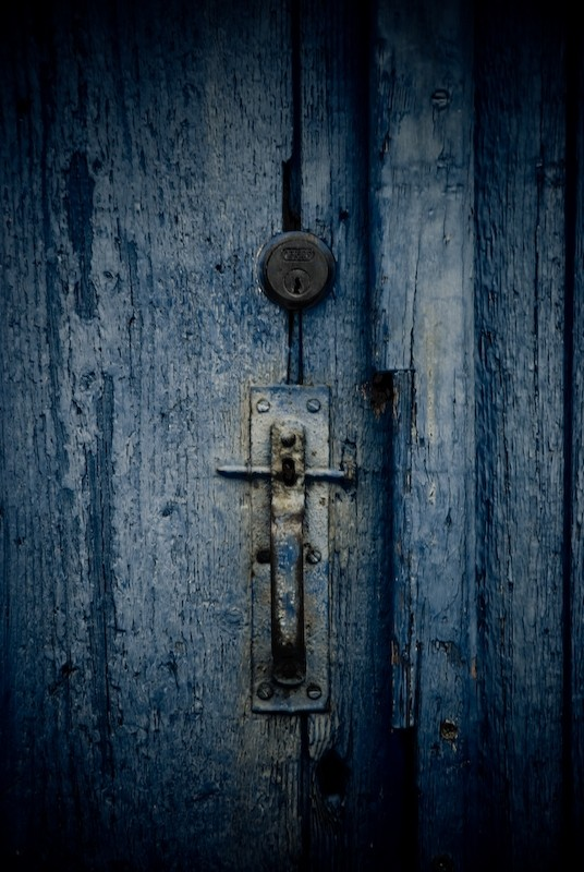 Close up of old & weathered lock
