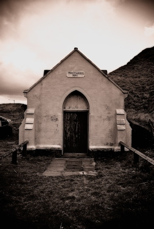 Sepia image of an old mortuary.