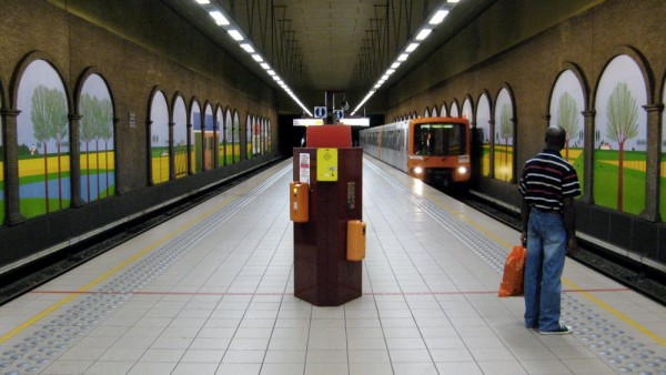 Man at Clemenceau Metro in Brussels