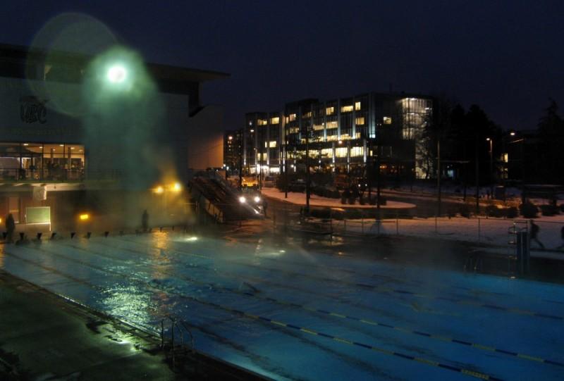 Night swim in winter