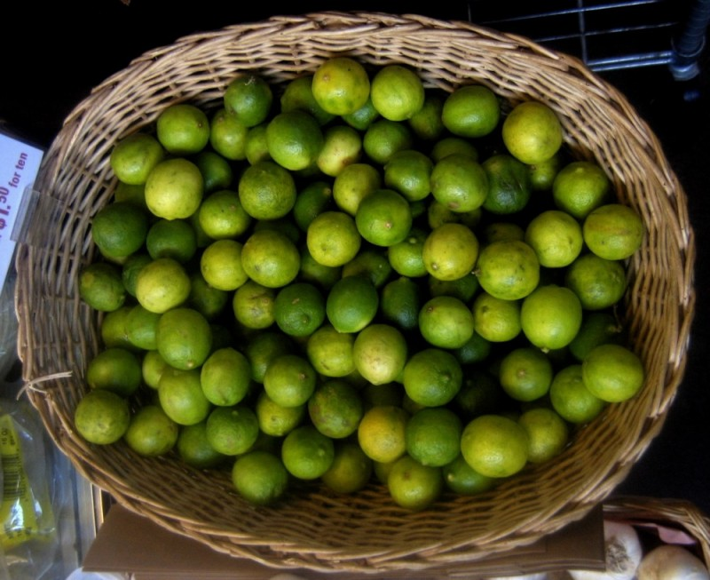 Limes in a basket