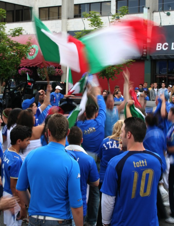 italy supporters wave flag