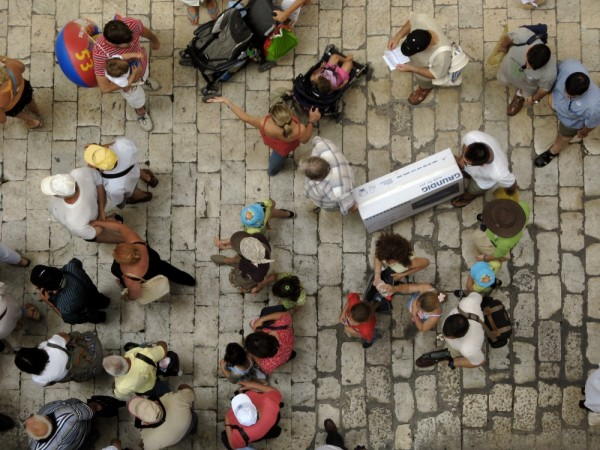 overhead view of tourists