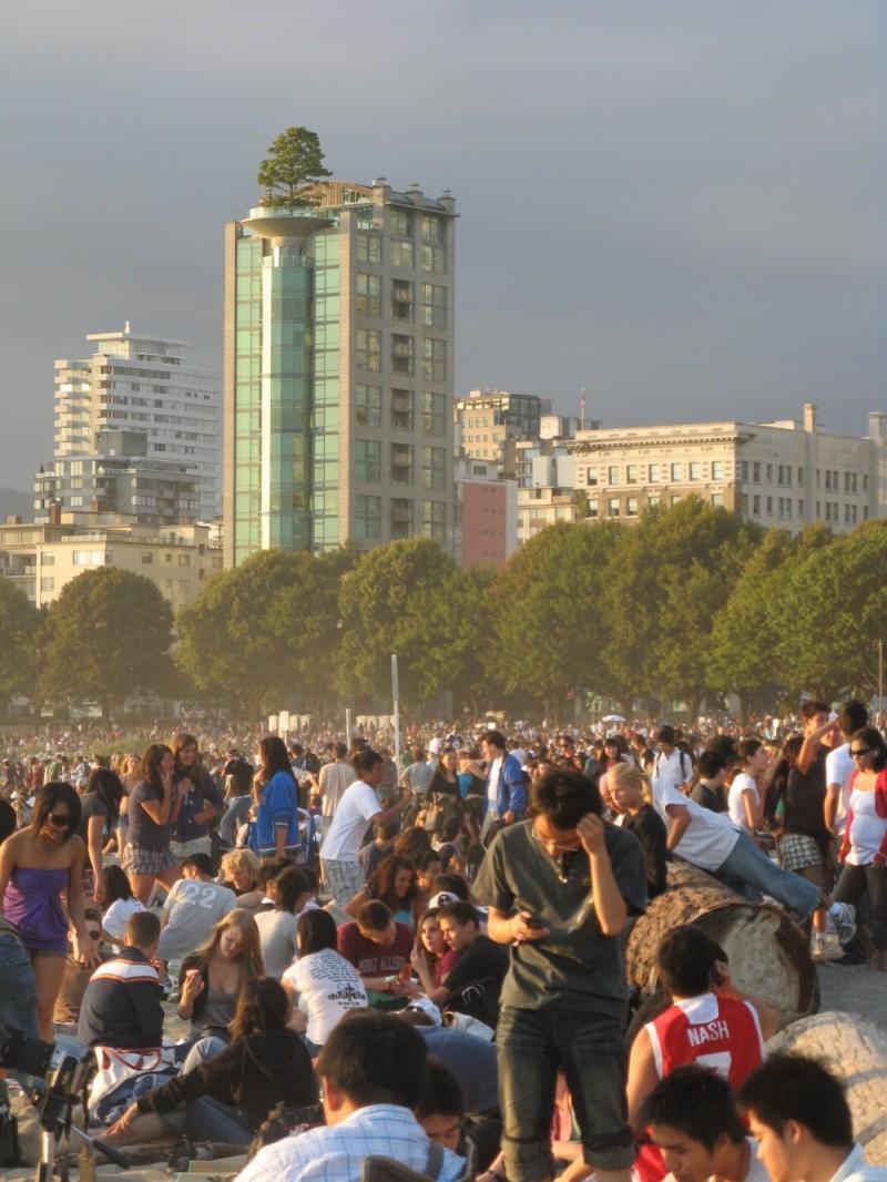 crowd at English Bay