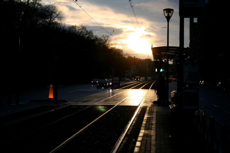 tram tracks sunset brussels