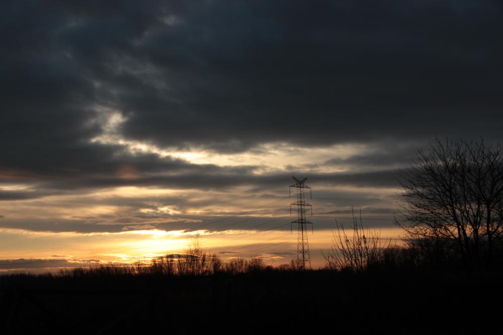 deep winter sunset