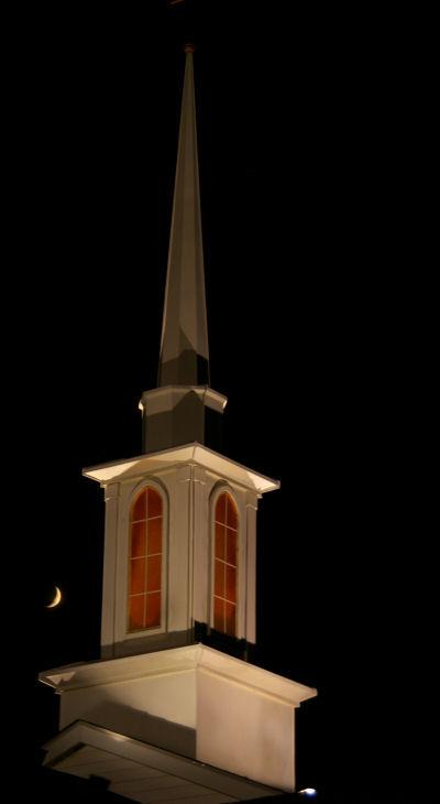 steeple and moon