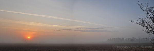 misty sunrise panorama