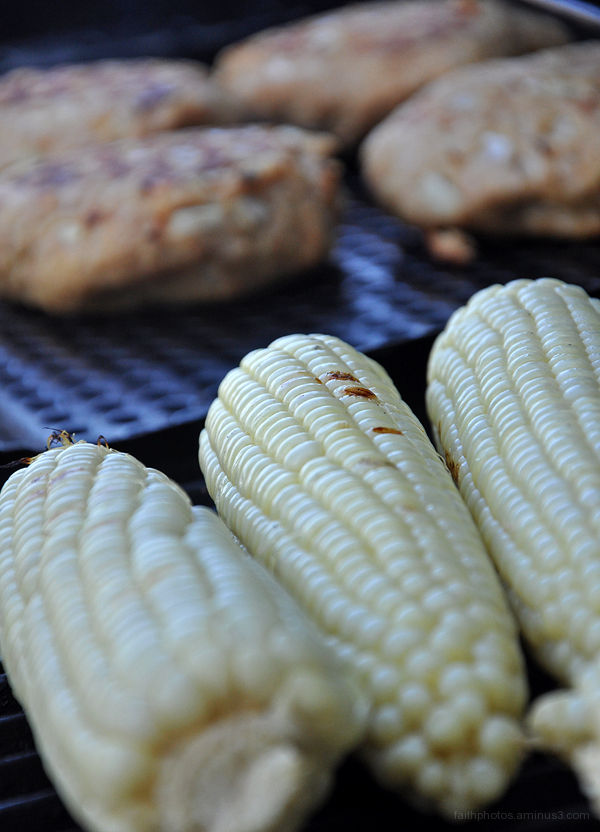 corn and burgers