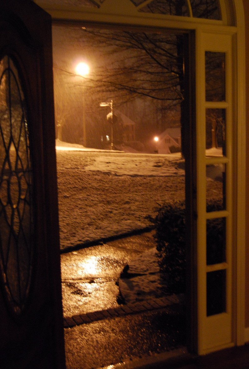 Snow from the doorway