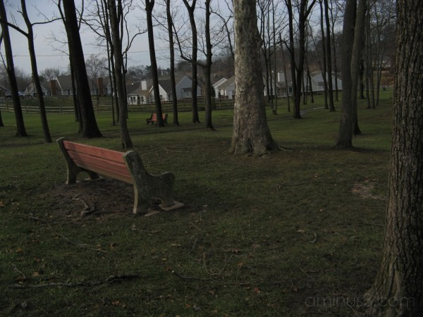 A bench meditates on a gloomy day