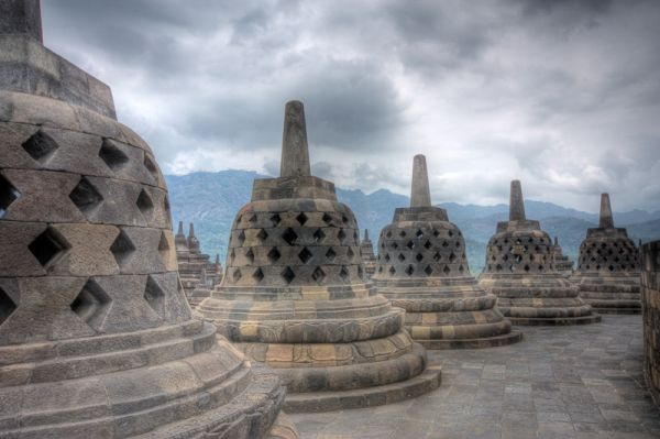 stupas of borobudur temple in hdr