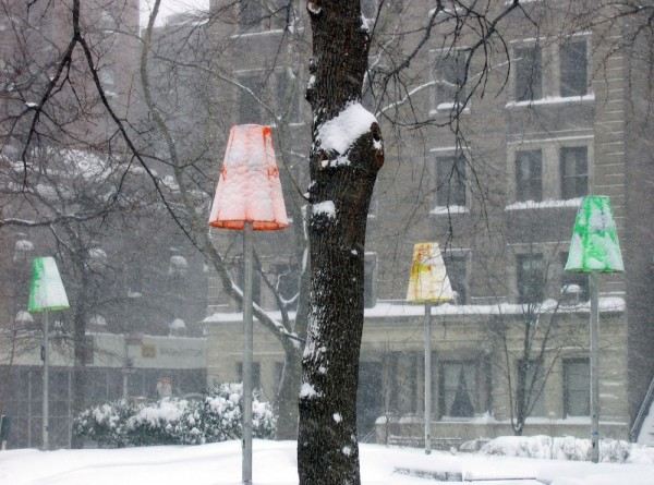 Snowy lampshades