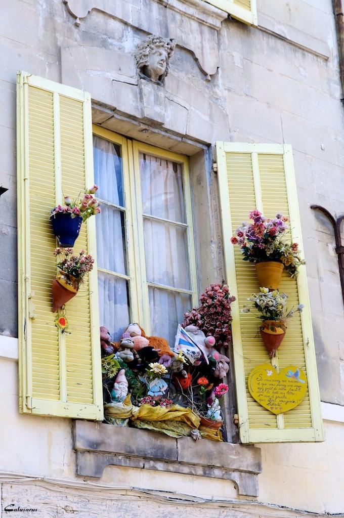 Fenetre fleurs Arles Bouches-du-Rhone