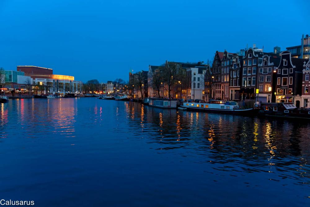 Paysage nuit rivière amsterdam
