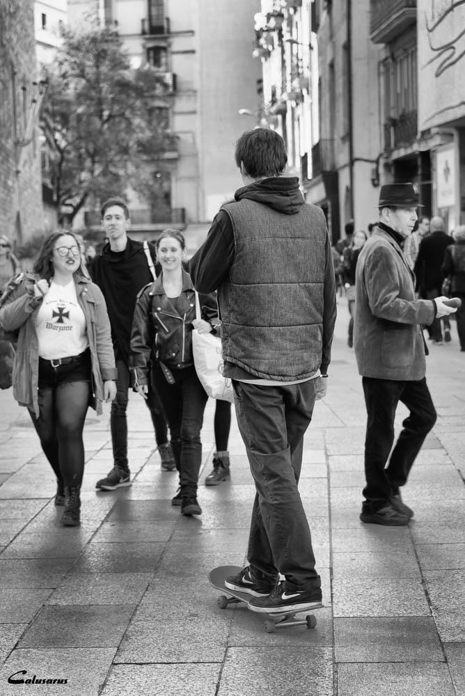Rue portrait N&B Barcelone