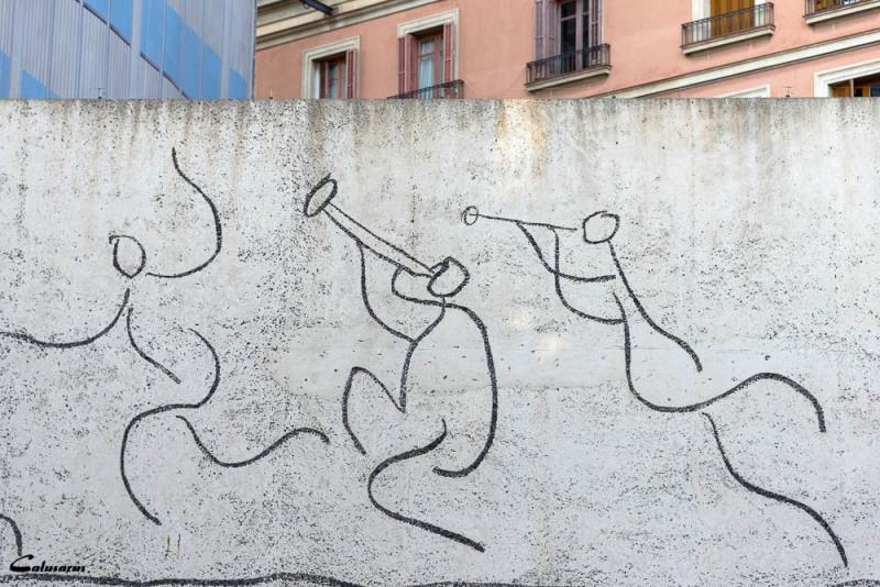 Mur Barcelone silhouette