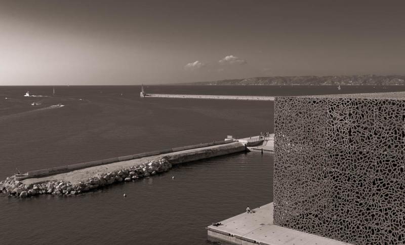 Paysage Marseille N&B Mer