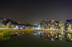 Paysage nuit Reflet Lyon ville