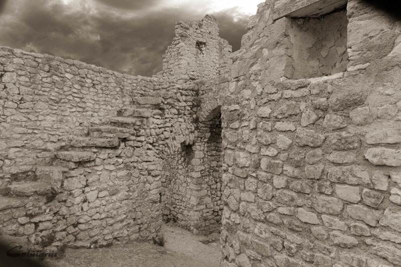 Histoire N&B Ruine Ardeche Chateau mur