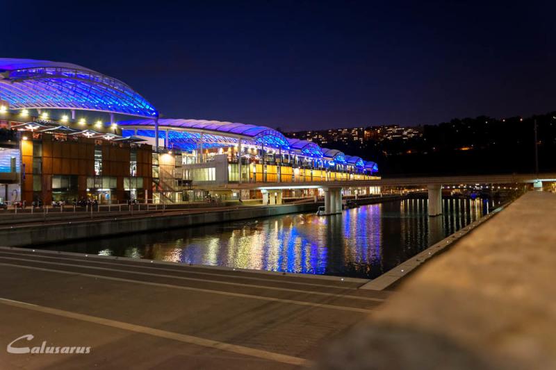 paysage nuit Lyon ville reflet