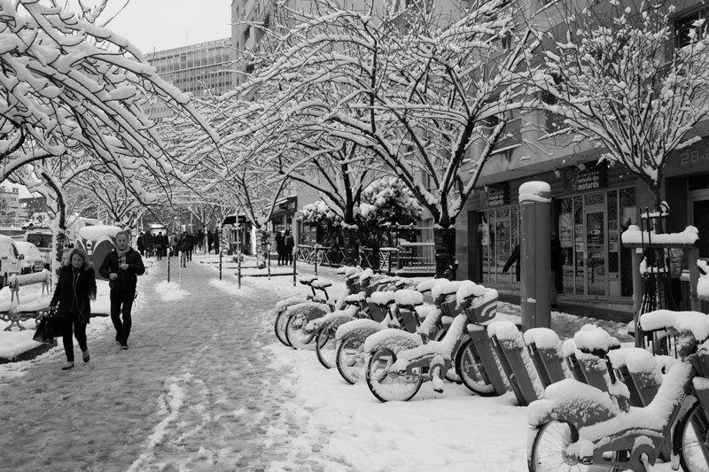 Paysage paris hiver neige N&B