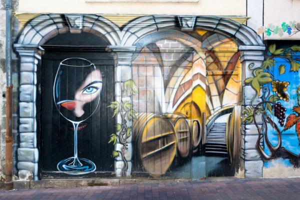 Graffiti mur cave trompe-l'oeil