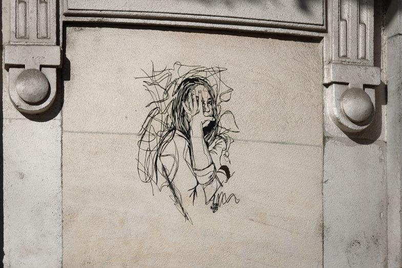 Graffiti portrait rue Lyon