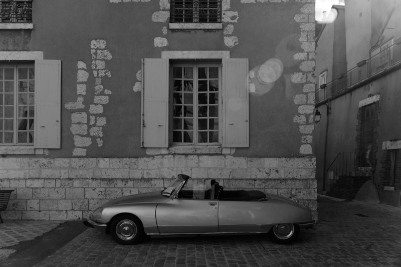 Automobile Citroen DS Chartres N&B