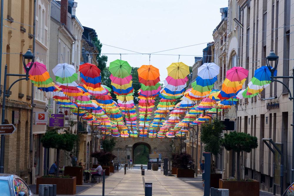 Rue Parapluie Couleurs Art