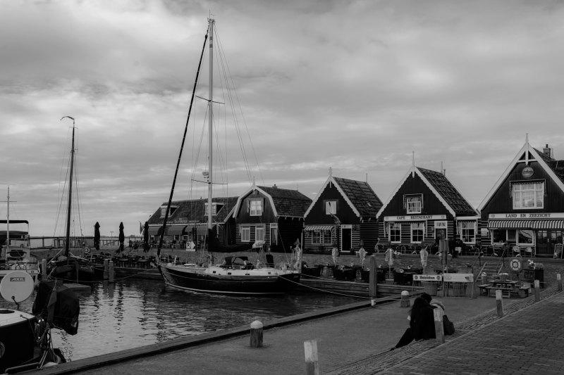 Paysage N&B Pays-Bas Port Bateau