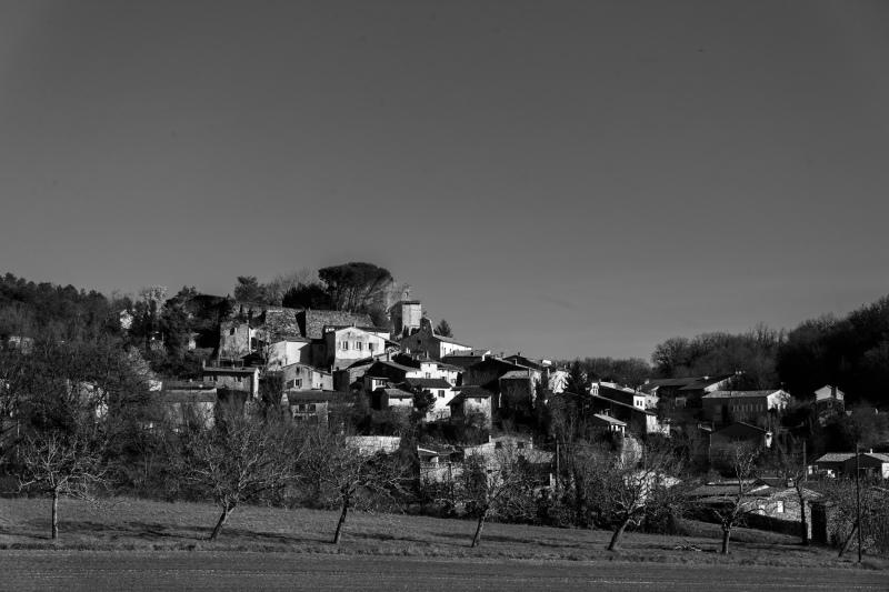 Drome 26 Paysage Eurre N&B Village