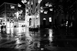Valence Drome 26 Nuit Noel Arbre reflet N&B