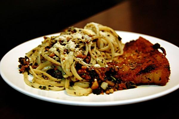 tallarin w/ cashew-basil pesto & herbed pork chop