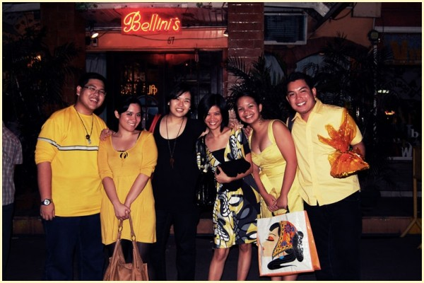 Blacks and Yellows at Bellini's