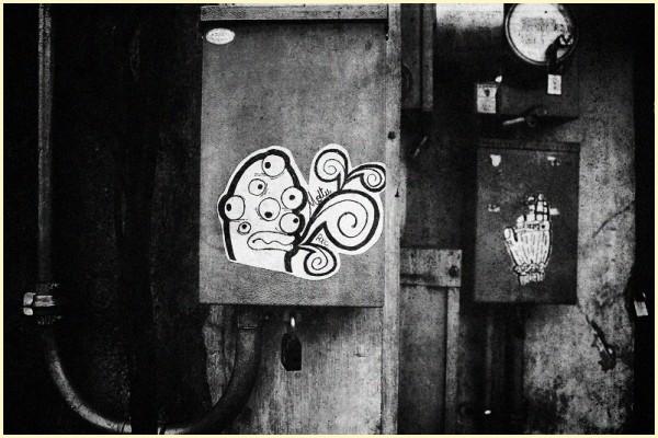 Monster Sticker Graffiti in Black and White