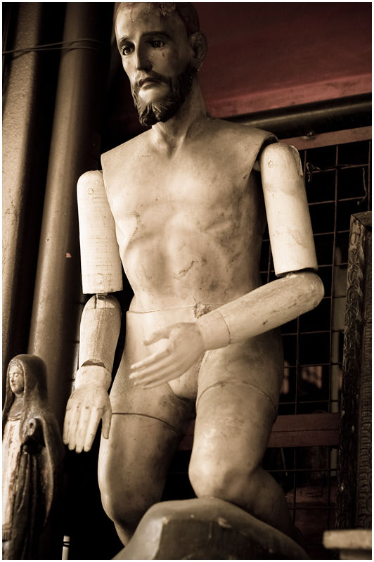Naked Wooden Antique Jesus Christ Statue