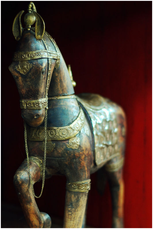 Wooden Horse with Brass Accents
