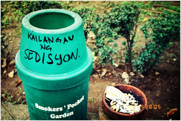 ateneo sedition graffiti trash cigarettes
