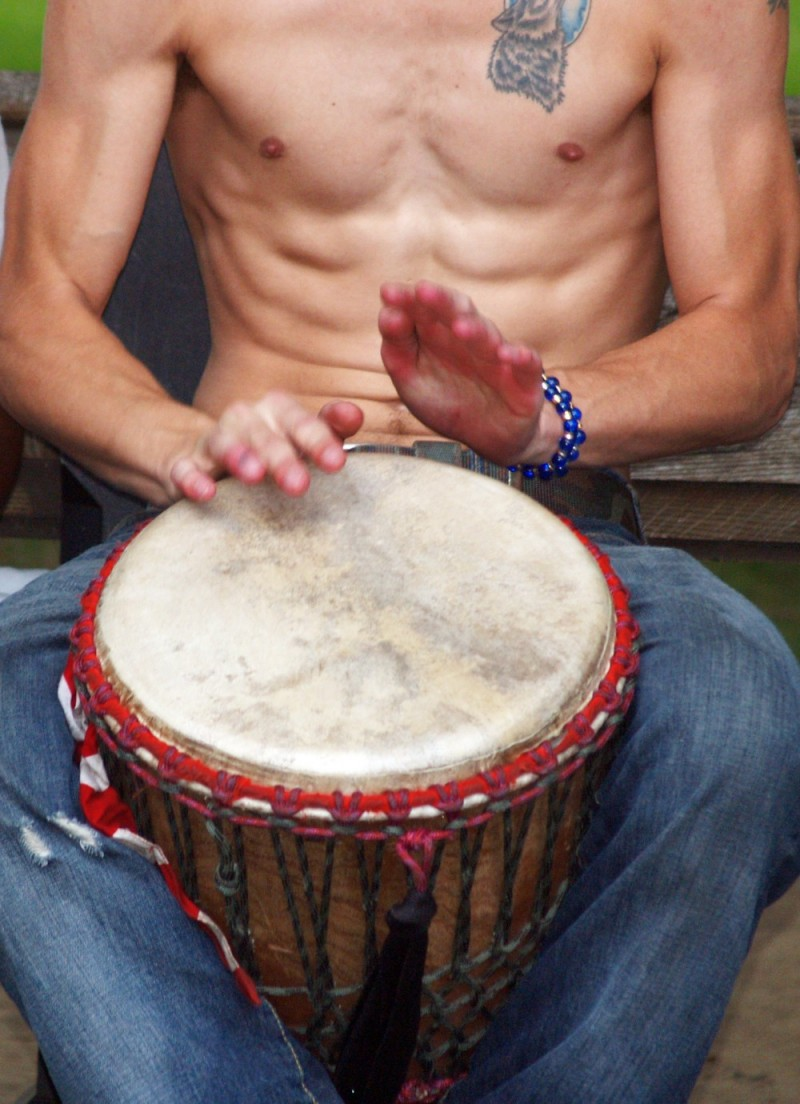 Playing the drums in Central Park