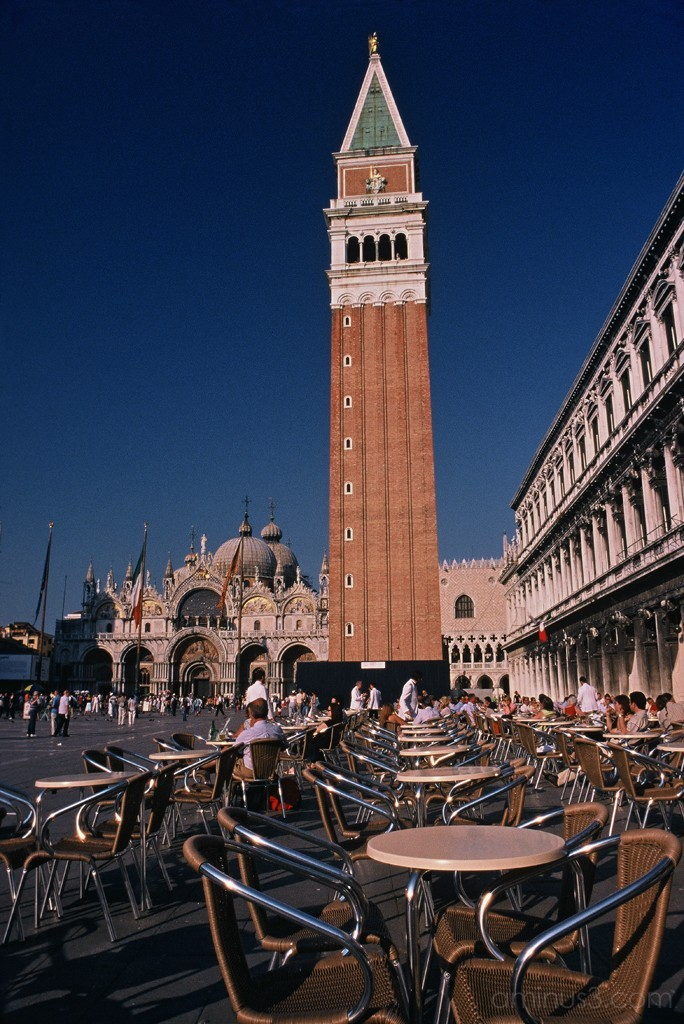 Cafe Scene at the Piazza San Marco in Venice Italy