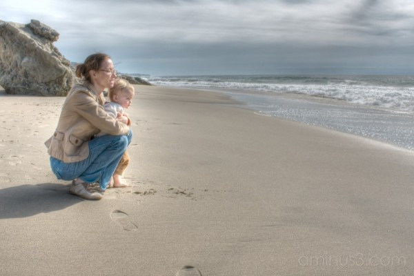 Mother and Son Enjoy the Ocean