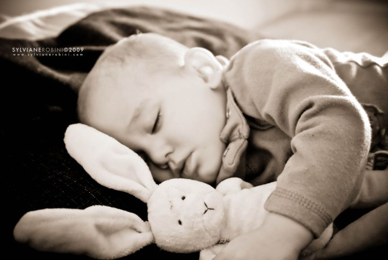 Portrait au lapin dormant