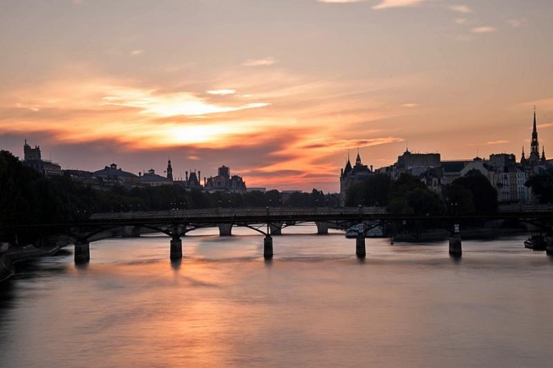 pont des arts, fleuve, seine, lever de soleil,