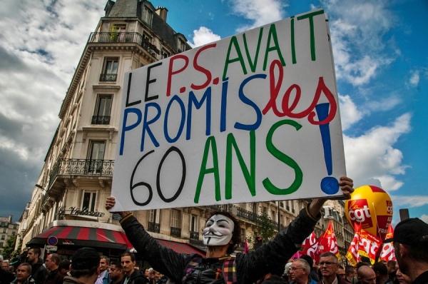 manifestation pour la retraite à 60 ans, Paris.