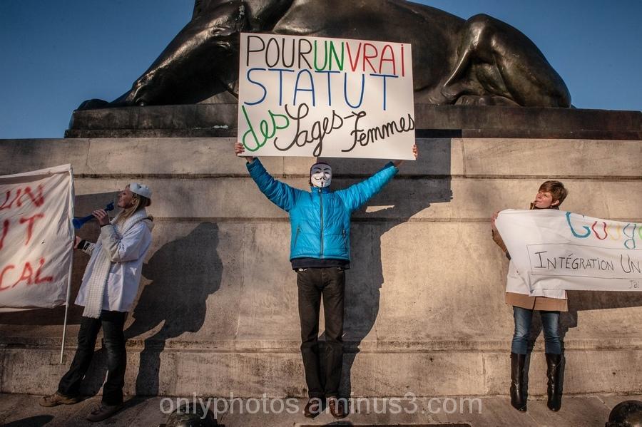 Manifestation de sage-femmes, Paris.